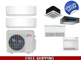 C&H 2 Zone 21.3 SEER Ductless Mini Split Heat Pump Air Conditioner